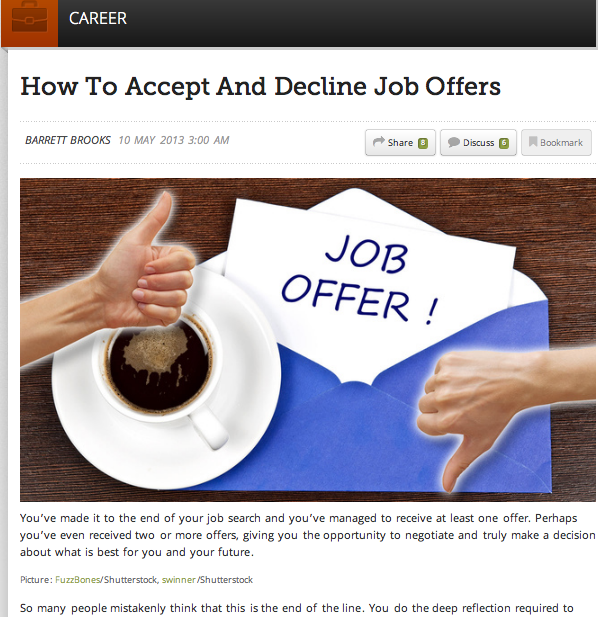 """How To Decline A Job Offer: Analysis Portofolio II: """"How To Accept And Decline Job"""